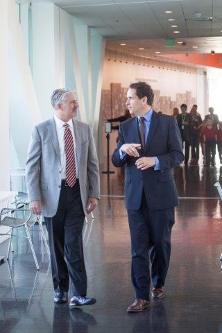 Scott Reiman, donor of a five-year gift for Denver Art Museum's Free for Kids program, talks with Christoph Heinrich, Frederick and Jan Mayer Director of the DAM.